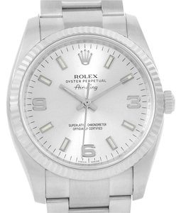 Rolex Rolex Air King Steel 18K White Gold Silver Dial Watch 114234