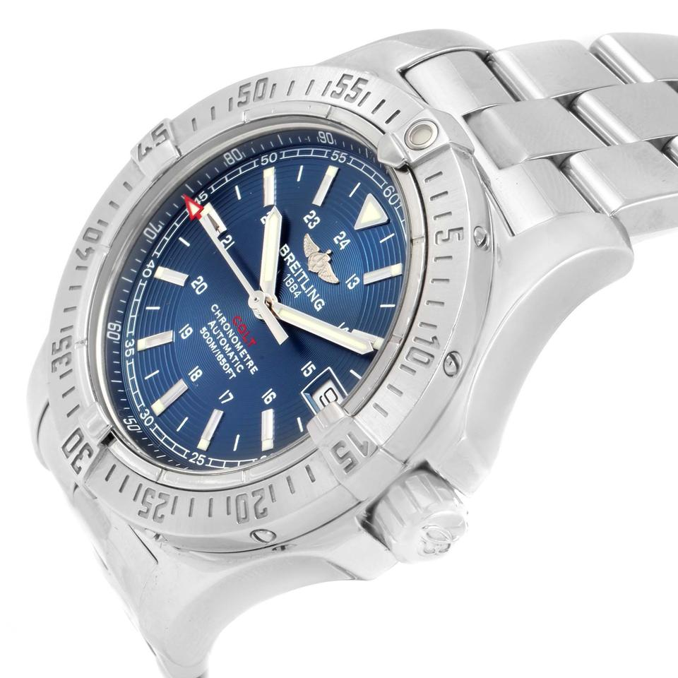 Orized Blue Stainless Steel Seiko Solar Dial Mens Watch Ssc221 Silver Breitling Colt A17380