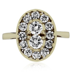 Other 14k Yellow Gold 0.90ctw Diamond Cluster Ring