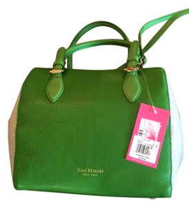 Isaac Mizrahi Leather Linen Satchel in Kelly Green Leather/Linen