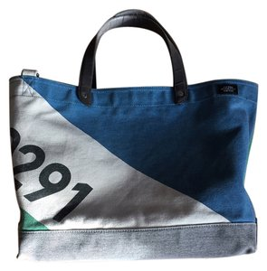 Jack Spade Canvas Waxwear Trim Steel Hardware Tote in color block (green, white, black, white, blue)