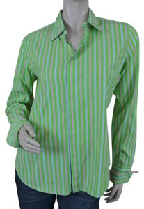 Ralph Lauren Black Label Cotton Blend Long Sleeves Stripes Preppy Button Down Shirt Green