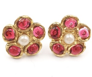 Chanel Vintage Chanel Gold Plated Red Gripoix Flower Clip on Earrings