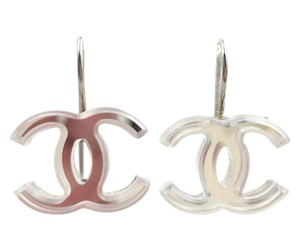 Chanel Chanel Silver CC Mirror Lever Back Piercing Earrings