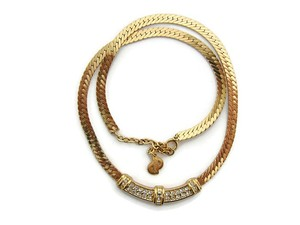 Dior Christian Dior 18K rolled gold crystal necklace made in Germany