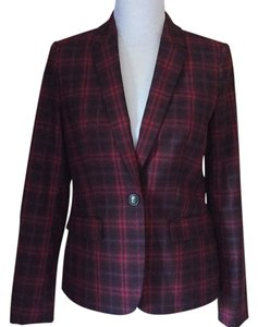 Tommy Hilfiger Red and Navy Plaid Blazer
