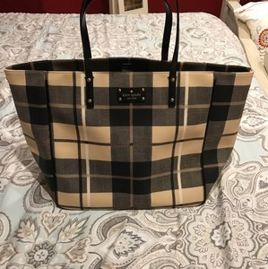 Kate Spade Large Pebbled Leather Tote in Black & Tan
