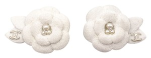 Chanel Chanel White Sand Textured Camellia Flower Clip on Earrings
