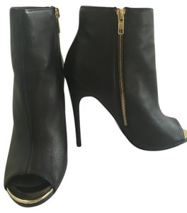 Steve Madden Leather Gold Stiletto Black Leather Boots