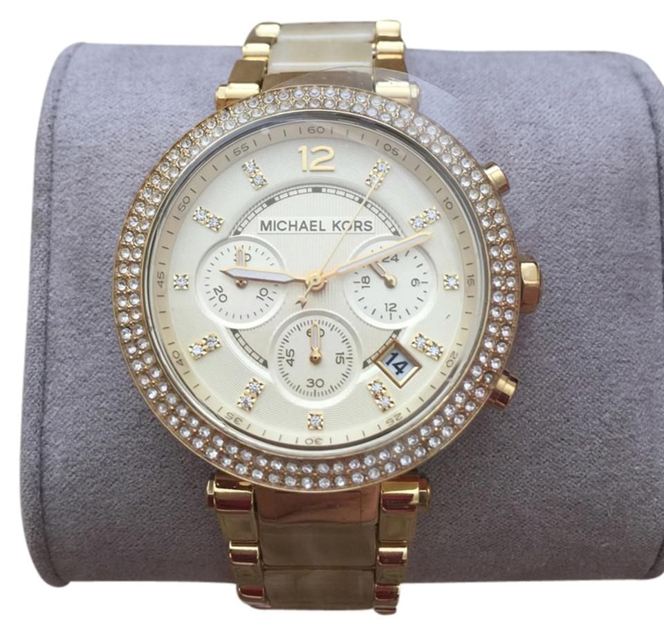 dacb5ecb8bed Michael Kors Mk5632 Chronograph Parker Horn Acetate and Gold-tone Watch