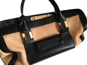 Chloé Leather Color-blocking Satchel in Beige and Black