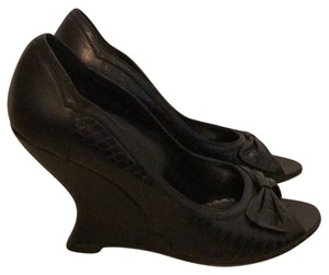 White House | Black Market Black embossed leather Wedges
