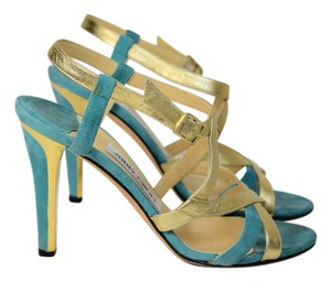 Jimmy Choo LIGHT BLUE AND GOLD Sandals