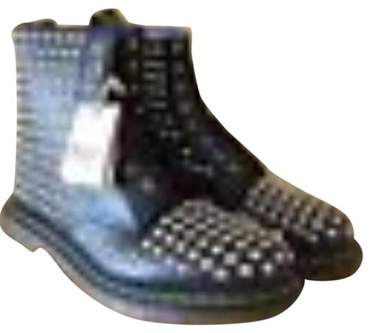 Dr. Martens Smoothe Leather Studded Leather Laces Built To Last Air Cushioned Soles black and silver Boots
