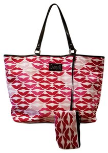 Lulu Guinness Lips Tote in White, red, and pink