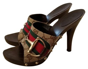Gucci Gold Hardware Canvas brown Mules
