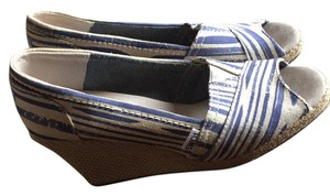 TOMS Blue and White-Cream Wedges