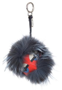 Fendi Slate blue multicolor fox fur Fendi Nutty Bag Monster charm