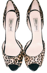 Jimmy Choo Calf Hair Leopard Print Open Toe D'orsay Black / Brown Pumps