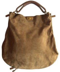 Marni Suede Leather Gold Hardware Hobo Bag