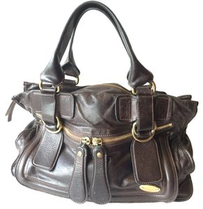 Chloé Leather Gold Hardware Satchel in Brown