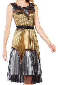 BCBGMAXAZRIA Lucea Pleated A-Line Metallic Dress Dress