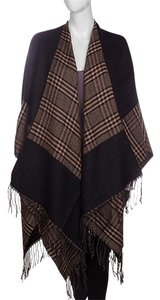 Other khaki Fringed Tartan Plaid Large Wool Shawl Wrap Cape Poncho