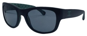Chanel Matte Black with Green Quilted Chanel Sunglasses 6049 c.1481/Z7 55