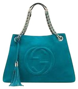 Gucci Soho Gg Nubuck Chain Tote in Turquoise