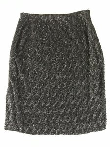 Luca Luca Embroidered Silk Formal Holiday Sparkle Skirt Black