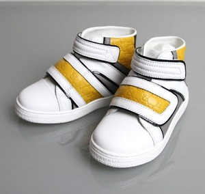 Gucci White/Gray/Yellow 9089 Kids Leather Coda Pop High-top Sneaker G 33/ Us 2 301354 Shoes