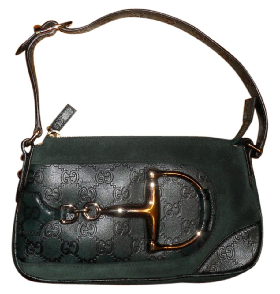 d82b714145011 Gucci Horsebit Gg Guccissima Monogram Small Green Suede/Leather Shoulder  Bag 52% off retail