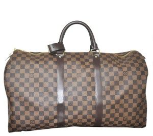 Louis Vuitton Keep Damier Ebene Damier Travel Bag