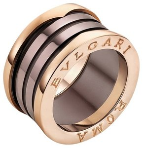 BVLGARI Bvlgari B.Zero1 18K Rose Gold Bronze Ceramic 4 Band Ring AN856887 #56