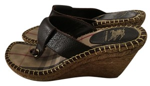 Burberry Leather Plaid Brown with Espadrille Wedge Sandals