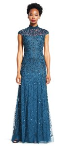 Adrianna Papell Teal Mock Neck Floral Beaded Gown With Cap Sleeves Dress