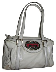 Gucci Retro Style Satchel in white glossy leather with bold GG and red & green stripe