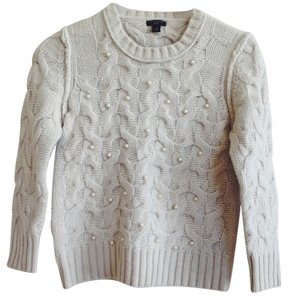 Ann Taylor Angora Rabbit Hair Cable Knit Pearl Sweater