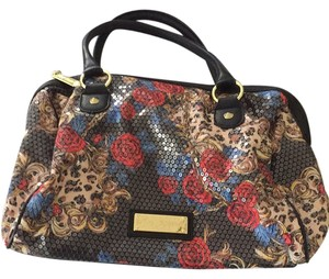 Betsey Johnson Satchel in Red Roses with Black background