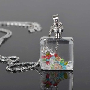 Crystal Filled Perfume Bottle Sweater Necklace Free Shipping