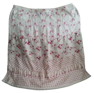 Ideology Embroidered Floral Flowy Skirt Cream and Rose