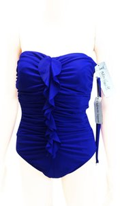 Miraclesuit Camilla Strapless Blue Sz 12 Front Ruffle Swimsuit