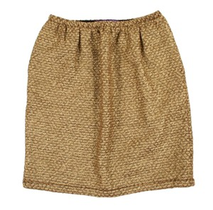 Ralph Lauren Collection Gilded Tweed Fabric Cashmere Skirt Gold