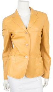 Jil Sander Yellow Tan Leather Jacket