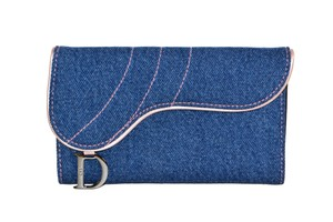 Dior Authentic Christian Dior Blue Denim Wallet