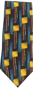 Cocktail Collection New Men's COCKTAIL COLLECTION 100% Silk Teal Yellow Absract Necktie