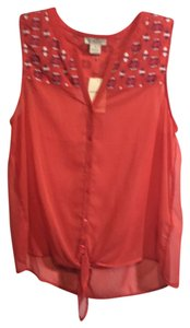 Lucky Brand Sheer Tie-front Embroidered Top Orange