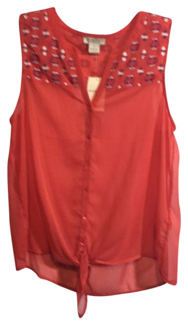 Lucky Brand Orange 7wd40009 Blouse Size 8 (M) Lucky Brand Orange 7wd40009 Blouse Size 8 (M) Image 1
