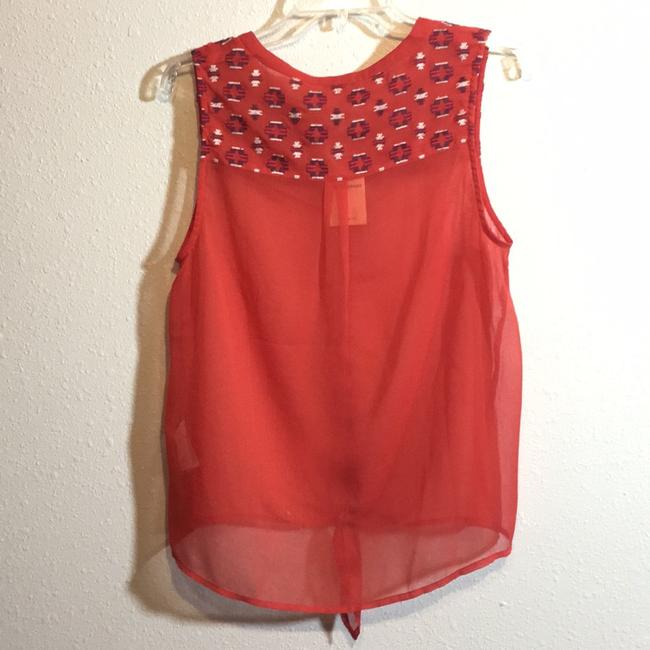 Lucky Brand Sheer Tie-front Embroidered Top Orange Image 1