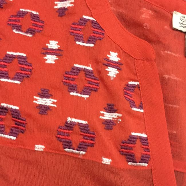 Lucky Brand Sheer Tie-front Embroidered Top Orange Image 3